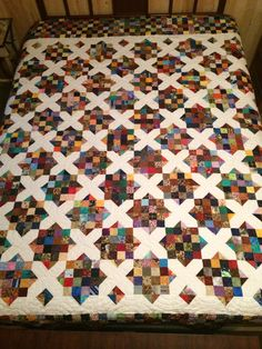I used just two dies to create this scrap quilt that used up a lot of fabric and is now on a Queen sized bed!