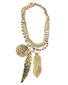 Live Love Laugh Convertible NecklaceAlisa Michelle for JEWELMINT COLLECTIVE54 Convertible Chain with Ruby Wire Wrap and live love laugh Coin, Bird Feather and Leaf Charms (3 necklaces in 1), 14K Gold Plated. This JewelMint Collective piece is made to order just for you by our Collective Designer