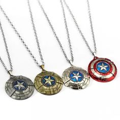 Buy Captain America Necklace The Avengers Rotatable Pendant Fashion Stainless Steel Chain Necklaces Gift Jewelry Accessories Cute Jewelry, Jewelry Gifts, Silver Jewelry, Jewelry Accessories, Silver Choker, Silver Rings, Silver Bracelets, Gold Jewellery, Nerd Jewelry