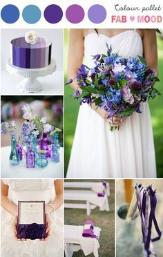 Shades of purple & blue Wedding Board. Purple stripes wedding cake & beautiful bouquet.