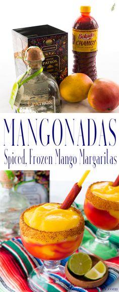 Sense & Edibility's Mangonada (Spiced Mango Margarita) Pin Use fresh mango to create this spicy-sweet libation. Frozen Watermelon Margarita, Frozen Margaritas, Frozen Cocktails, Summer Cocktails, Mango Margarita Recipes, Receta Mangonada, Mangonada Recipe, Mango Drinks, Cocktail Drinks