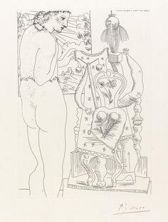 Pablo Picasso (Spanish, 1881-1973), Modèle et sculpture surréaliste, 1933.Etching from La suite Vollard. Total edition of 310.