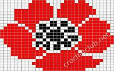 Valmue , Informations About Mohnblume Tapestry Crochet Patterns, Crochet Quilt, Crochet Chart, Loom Patterns, Knit Or Crochet, Crochet Motif, Beaded Cross Stitch, Cross Stitch Charts, Cross Stitch Embroidery