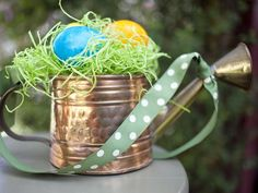 Brass Watering Can - 20 Unconventional Easter Basket Ideas on HGTV