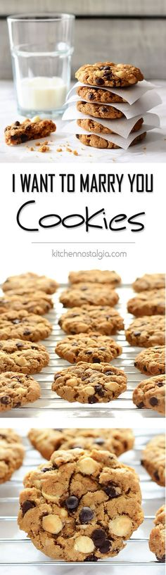 I Want to Marry You Cookies - these cookies are surefire way to get someone to fall in love with you; white and dark chocolate chips, brown sugar, almost toffee flavor; just one bowl, no creaming of butter and sugar needed - kitchennostalgia.com