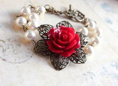 Red Rose Bracelet Cuff Ivory White pearls by apocketofposies