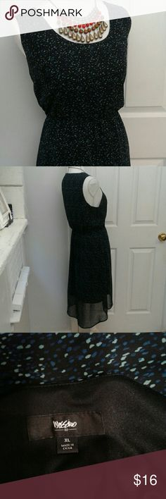 "Mossimo hi-lo sleeveless dress sz XL Pair up w/ shrug or cardigan for cool weather and boots, flowy & feminine. Has elastic waist, length from shoulder to shorter side of hemline is about 40"" Mossimo Supply Co Dresses High Low"