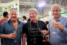 The big bosses celebrate together:  Rudi Eggers, CEO of International Slab Sales, Bruce Macdonald (flash mob director) of Boomtown Films, Trevor King, marketing director for Caesarstone South Africa