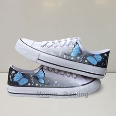 Blue butterfly shoes,Low top shoes,Custom Hand Painted Shoes,Custom Converse Shoes,men,women,kids shoes