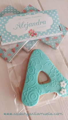 Tartas Fondant Zaragoza - Cooking Art: GALLETAS COMUNION SHABBY CHIC