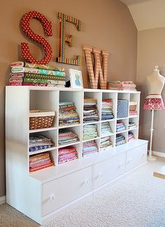 My sewing room, sewing room design, sewing room storage, craft room d Sewing Room Storage, Sewing Room Organization, My Sewing Room, Craft Room Storage, Fabric Storage, Storage Ideas, Craft Rooms, Organization Ideas, Sewing Room Decor