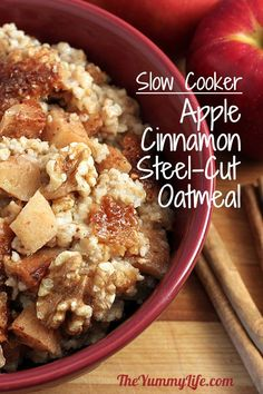 Overnight, Slow Cooker, Apple Cinnamon Steel-Cut Oatmeal. Delicious, nutritious, and ready when you wake up.  since steel cut oatmeal takes so long to make stovetop (at least too long for my morning routine), thought I'd find a crockpot recipe :) can't wait to try it! but going to use the earl grey recipe I pinned earlier (will try these recipes at some point as well) yummm