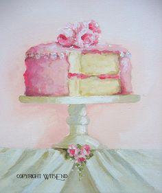 Rose Cake painting original ooak dessert food art by Watercolor Food, Festa Party, Decoupage, Painted Cakes, Rose Cake, Paint Party, Cake Art, Paper Cake, Food Illustrations