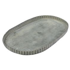 "Zinc oval trays, available in 3 sizes •small: 6.5""W x 4.25""D x .5""H •medium: 8.75""W x 5.5""D x .5""H •large: 10""W x 6.5""D x .5""H •zinc •with fluted edges"