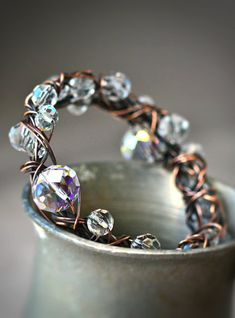Copper and Crystal Free Form Wire Wrapped Bangle