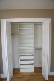 """for a standard closet we frame them to be 24"""" finished with 16"""" deep shelves along with closet rods. for walk-ins we build the shelves 16"""" also with atleast 30"""" of space between the shelves and the shelving onthe opposite wall which is will lead to being nearly a 5' wide closet"""