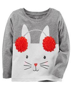 Toddler Girl Earmuffs Bunny Tee | Carters.com
