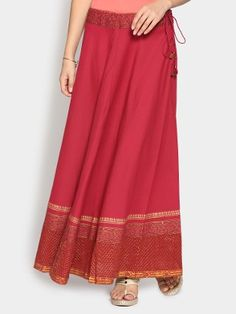 Fabindia Women Red Regular Fit Maxi Skirt