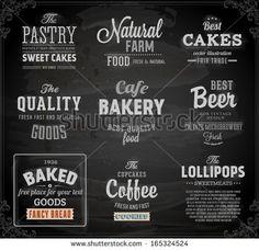 Set Of Vintage Chalkboard Bakery Logo Badges And Labels For Retro Design Stock Vector 165324524 : Shutterstock
