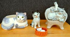 Mixed Lot of 4 porcelain cat figurines, different poses and sizes | eBay