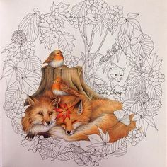 No photo description available. Fox Illustration, Illustrations, Zorro Tattoo, Adult Coloring, Coloring Books, Chris Cheng, Fuchs Tattoo, Enchanted Forest Coloring Book, Fox Art