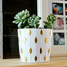 A Little Dash of Gold - Ikea pot for plant on plant stand