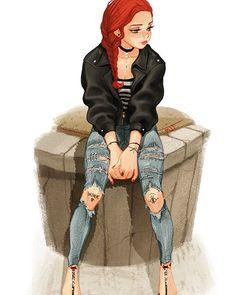character -girl -wink -concept -art -redhair.