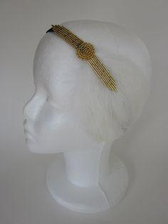 Great Gatsby 1920s Headband Flapper Style Roaring Twenties Beaded Gold Art Deco with Eggshell Cream Feather Fascinator