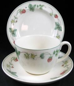 Wedgwood RASPBERRY Bread & Butter Plate + Cup & Saucer SHOWROOM INVENTORY MINT #WEDGWOOD