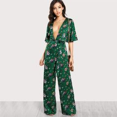 ced976997dd4 Sexy Jumpsuits for Women Bell Plunge Neck Self Belted Palazzo Multicolor  Half Sleeve Floral