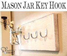 EASY Mason Jar Key Hook from Shanty-2-Chic.com ... LOVE this!!
