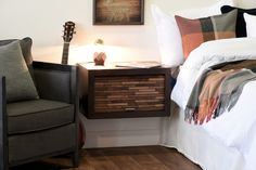 Floating Nightstand - ECO GEO Espresso Nightstand Plans, Wood Nightstand, Floating Nightstand, Nightstands, Wall Mounted Headboards, Big Blank Wall, Wall Shelf Unit, Wall Spotlights, Light Grey Walls