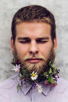 "One of my favorite from the ""hipster flower beard"" trend for guys Wedding Hair Flowers, Flowers In Hair, Art Flowers, Tiny Flowers, Hair Wedding, Real Flowers, Beautiful Flowers, Beard Decorations, Bearded Men"