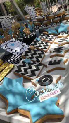 """Προσκλητήριο-Μπομπονιέρα-Candy table-Βαπτιστικά """"Nikolas Ker"""". #nikolasker #baptism #christening #nea_ionia #athens #boy #baby #clothes #decoration #sweets #favors #boboniera #invitation #greece #candybar #candytable #greekevents #cupcakes #wishes #nikolaskerevents #littlestar #blackandwhite Christening, Cookies, Table Decorations, Food, Home Decor, Crack Crackers, Homemade Home Decor, Biscuits, Hoods"""
