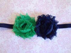 Navy Blue and Emerald Green Shabby Chic Flower Headband - Baby Girls Headband. Newborn Headband. Baby Hair Accessories. Navy Flower Headband. $7.00, via Etsy.