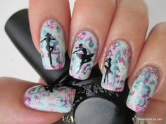 Music Nails with Dancers ~ base polish Gina Tricot Beauty Nails: #130 'Shimmer mint' stamped with the G-Clef & notes image from BM-411 with the turquoise China Glaze 'Adore'. Stave with notes image from Pueen 47 stamped on top of that with Konad 'Psyche Pink'. (Top coated after each step.) Dancers stamped from Konad: S8 and MoYou London: Princess collection- 02 plates with Konad SP Black and White and XL stamper with a new stamper head. ~ Nailphotos by Lani