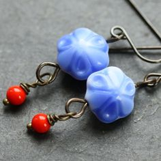 Tiny Blue Flower Earrings with Vintage Glass by WishByFelicity, $15.00