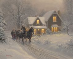 Sleigh Ride On A Winter Evening pieces) Winter Pictures, Christmas Pictures, Thomas Kinkade Christmas, Thomas Kinkade Art, Kinkade Paintings, Winter Schnee, Winter Painting, Winter Magic, Christmas Scenes