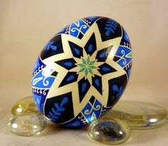 Chicken Pysanky Egg White star on Blue with by GoldenEggPysanky, $22.00