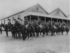 1915 Wide Bay Regiment assembled in front of the Exhibition Hall, Biggenden SLQ
