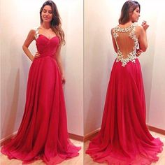 2015 Long Fuchsia Prom Dresses In Stock Sweetheart Neckline with Lace Straps Illusion Backless Evening Gowns Chiffon Formal Party Wear Gowns Online with $66.34/Piece on Sarahbridal's Store | DHgate.com