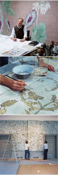 Wouter Dolk - Hand painted Wall Panels :: Gesso and Egg tempera on Paper…