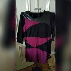 Purple & Black 3/4 Sleeve Dress