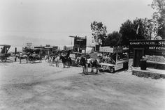 John Carpenter's Heaven on Earth Ranch, circa 1940s. The Riding Ranch offered carriage rides for adults and wagon rides for children. The photograph shows carriages and wagons lined up and ready for the trail ride. On the right is Canadas General Store. Little Landers Historical Society. San Fernando Valley History Digital Library.