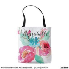 Shop Watercolor Peonies Pink Turquoise Summer Bouquet Tote Bag created by JunkyDotCom. Unique Gifts For Her, Cool Gifts, Custom Tote Bags, Gifts For Your Girlfriend, Pink Turquoise, Tote Handbags, Floral Prints, Reusable Tote Bags, Peonies