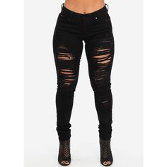 Ripped Black Skinny Jeans ($25) ❤ liked on Polyvore featuring jeans, bottoms, pants, denim skinny jeans, destructed jeans, distressing jeans, destruction jeans and skinny leg jeans