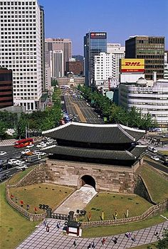 South Gate and city skyline, Sungnyemun, Seoul