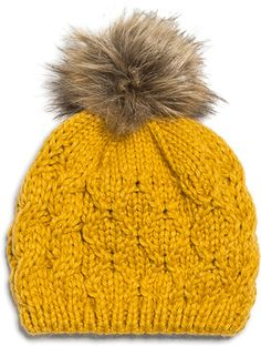Pompom Knitted Hat, a different color would be better