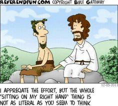 Man sitting (literally) on God's right hand Christian Puns, Christian Comics, Christian Cartoons, Funny Christian Memes, Christian Life, Bible Jokes, Bible Humor, Jw Humor, Jesus Humor
