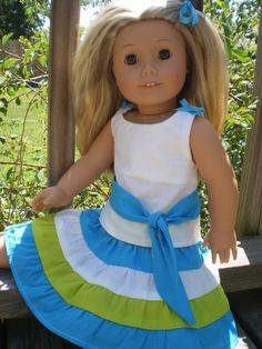 "18"" Doll Clothes American Girl Turquoise, Limegreen and White Party Skirt Set. $12.99, via Etsy."